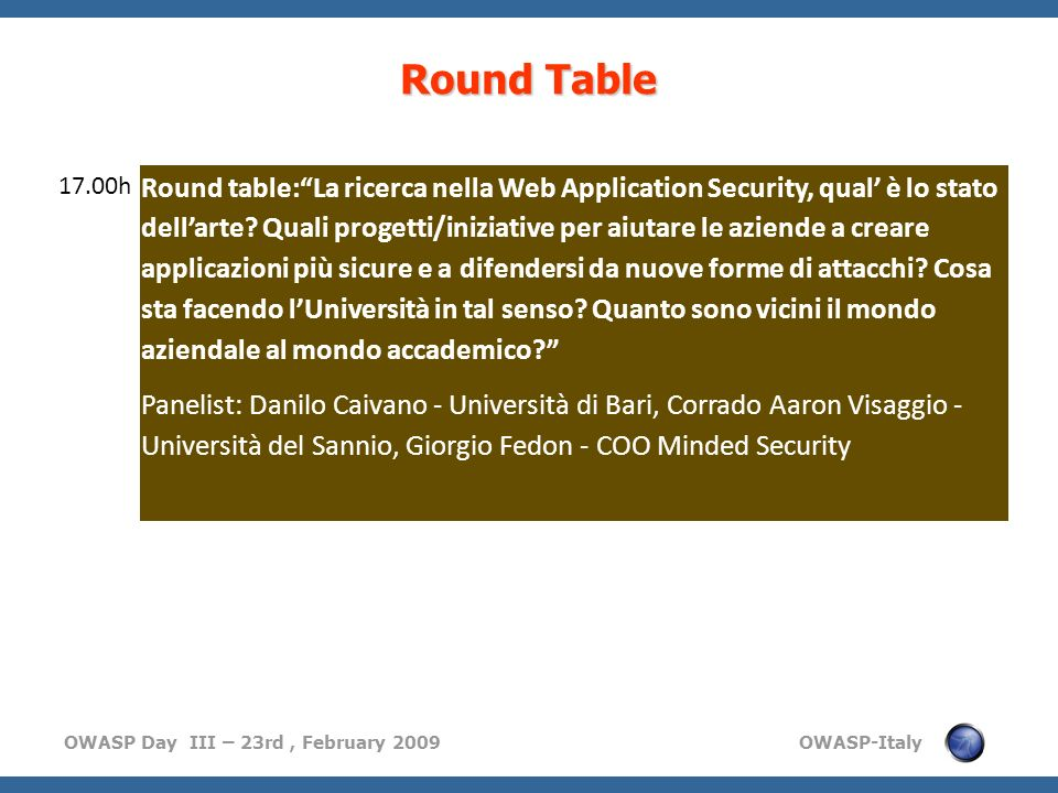 Round Table 17.00h.
