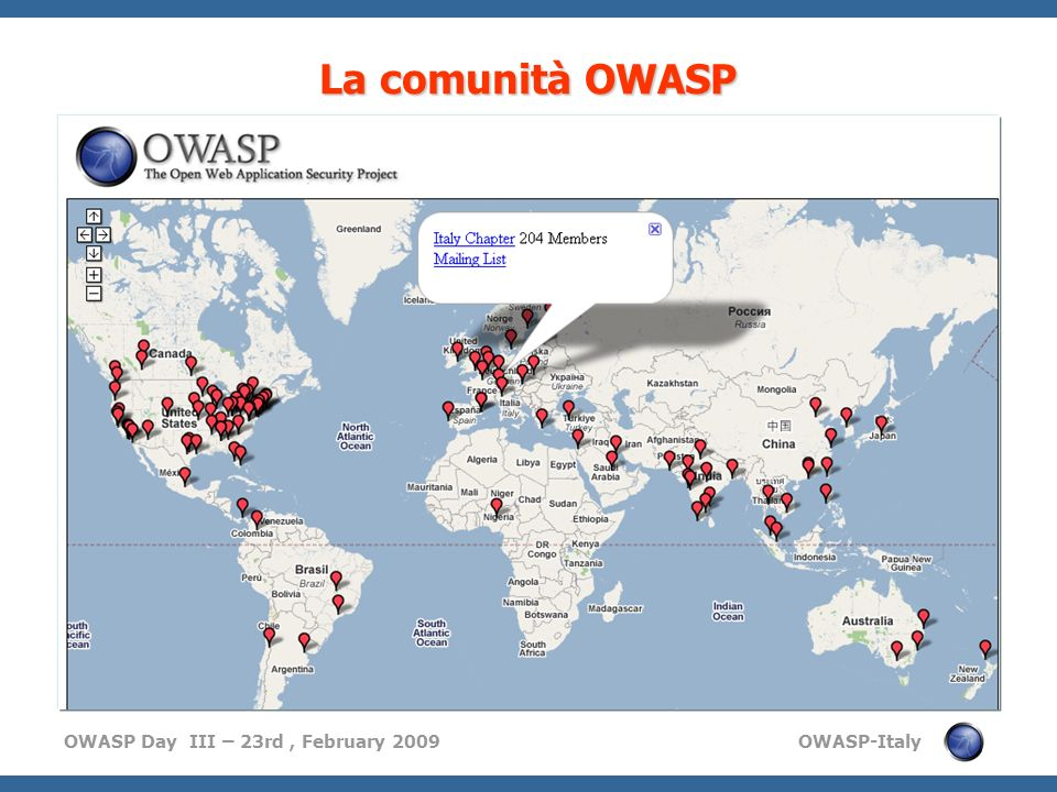 La comunità OWASP Thousand of individual members,