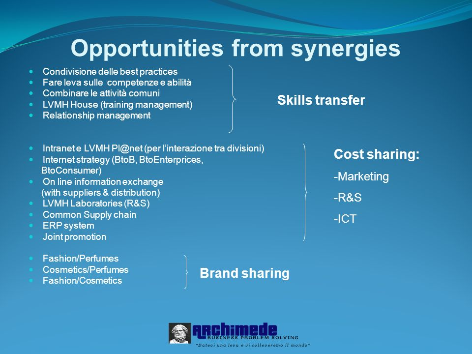 Opportunities from synergies