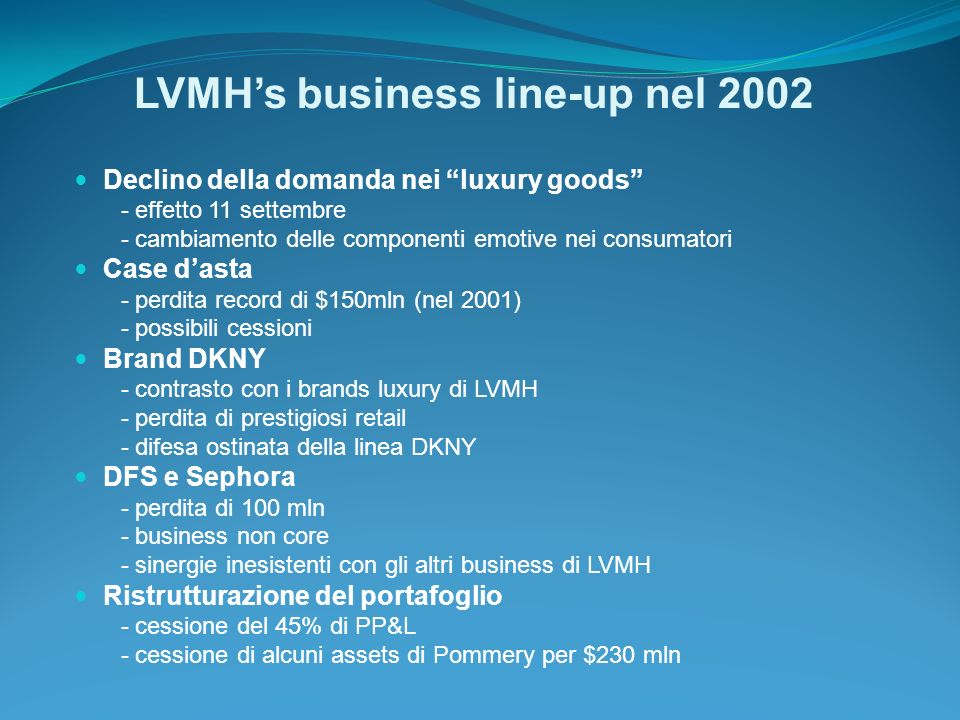 LVMH's business line-up nel 2002