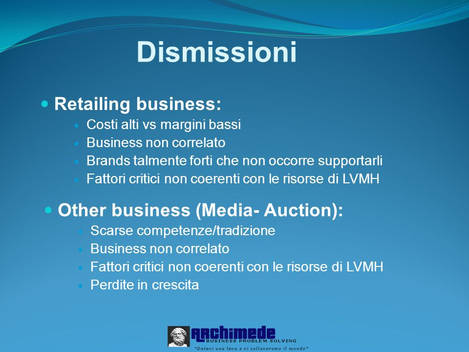 Dismissioni Retailing business: Other business (Media- Auction):