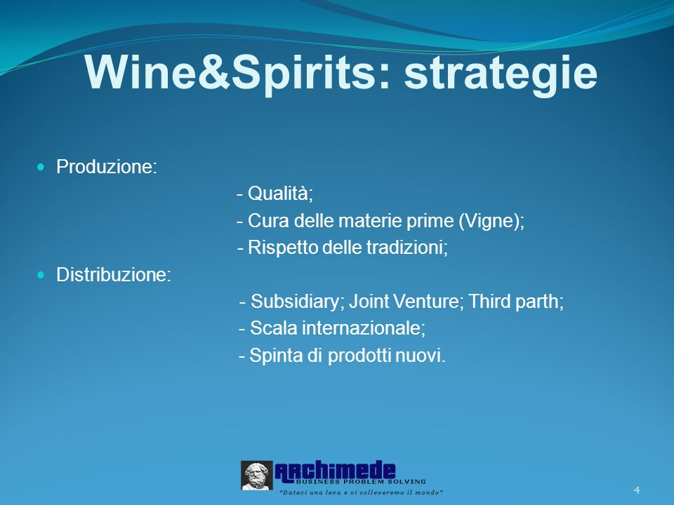 Wine&Spirits: strategie