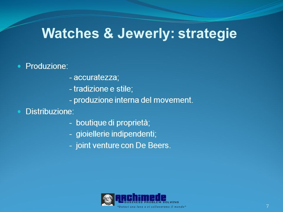 Watches & Jewerly: strategie