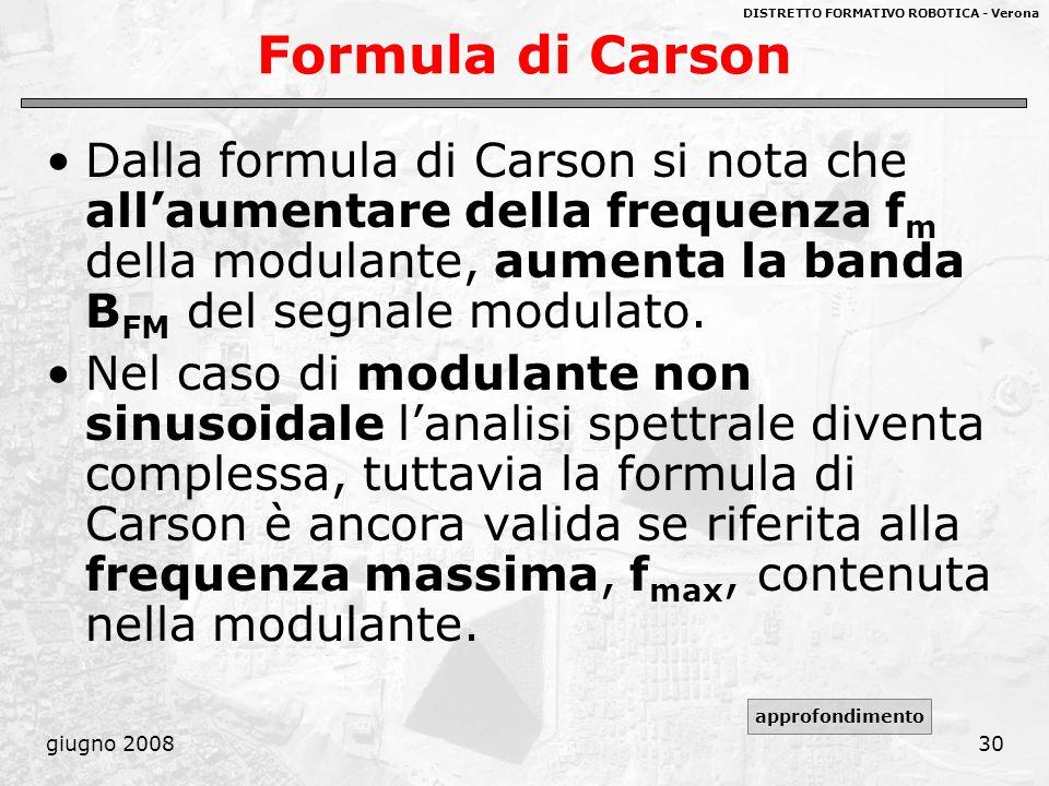 Formula di Carson Dalla formula di Carson si nota che all'aumentare della frequenza fm della modulante, aumenta la banda BFM del segnale modulato.