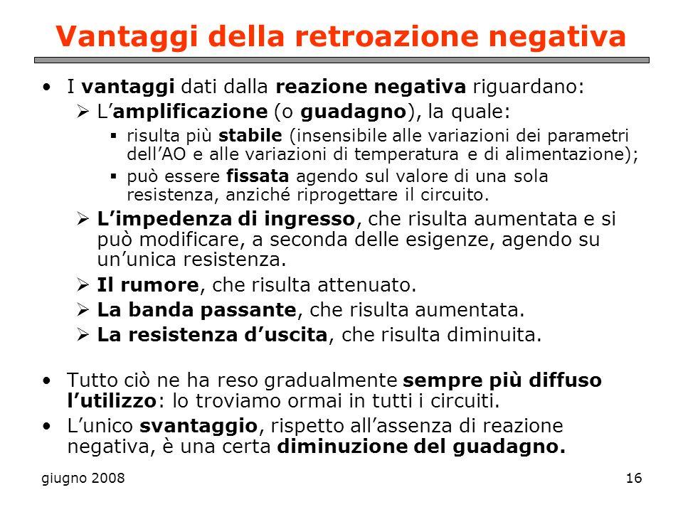 Vantaggi della retroazione negativa