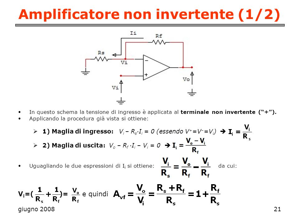 Amplificatore non invertente (1/2)