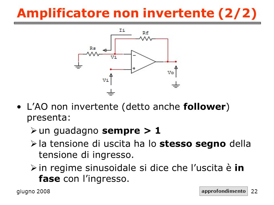 Amplificatore non invertente (2/2)