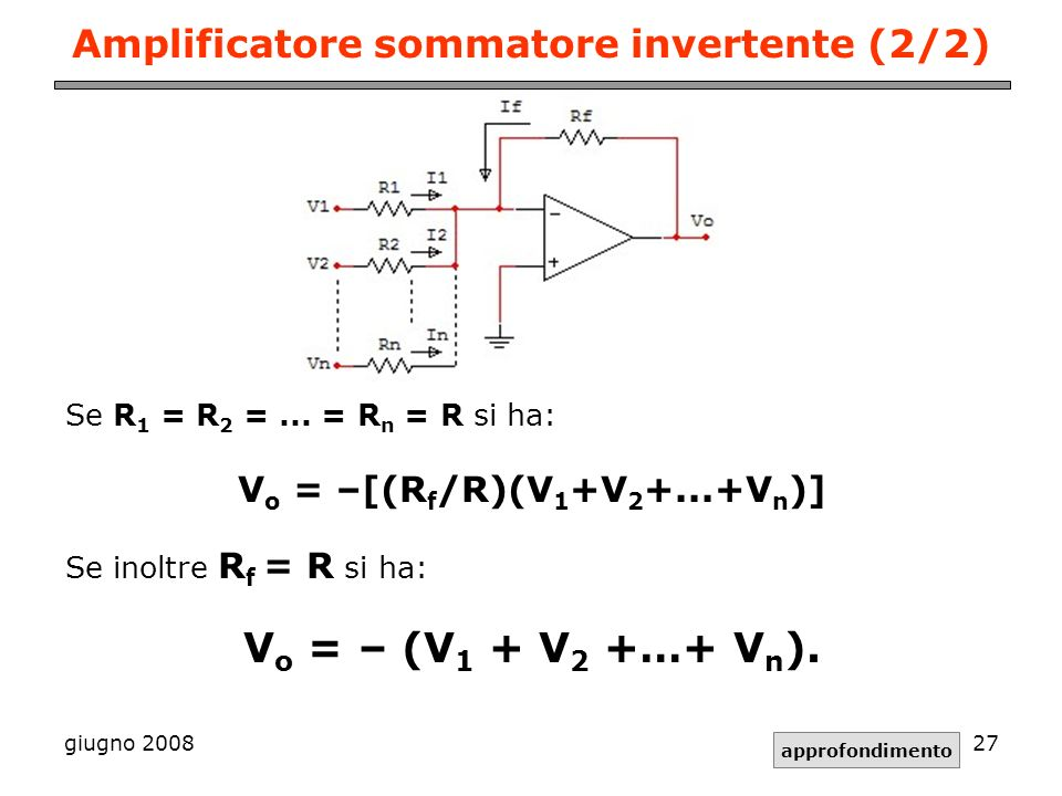Amplificatore sommatore invertente (2/2)