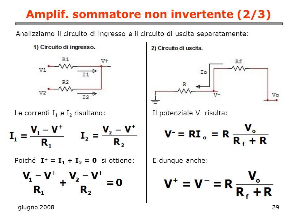 Amplif. sommatore non invertente (2/3)