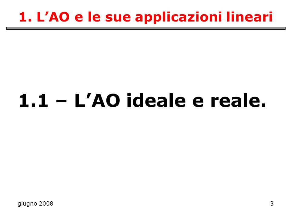 1. L'AO e le sue applicazioni lineari