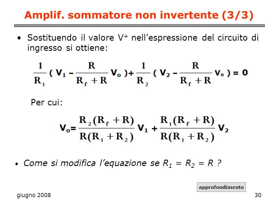 Amplif. sommatore non invertente (3/3)