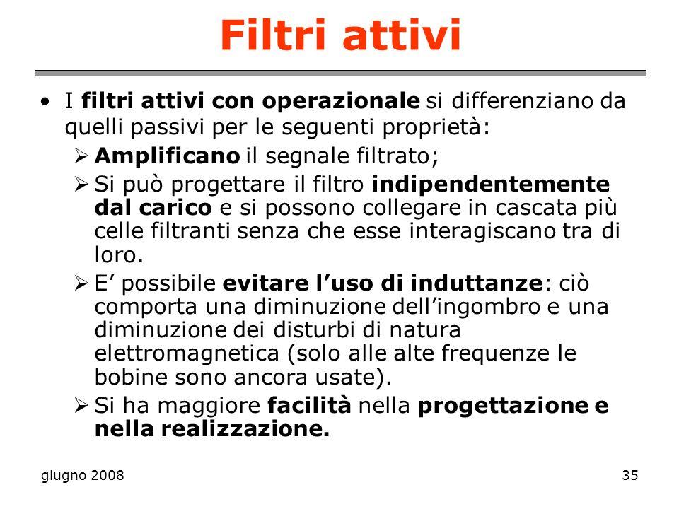 Filtri attivi I filtri attivi con operazionale si differenziano da quelli passivi per le seguenti proprietà: