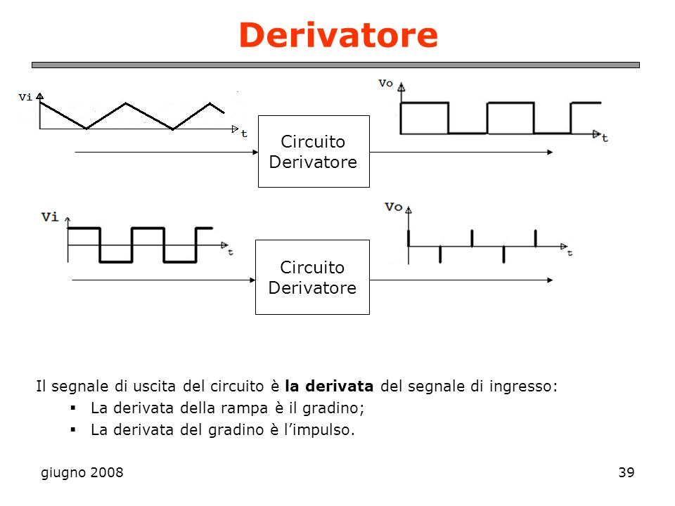 Derivatore Circuito Derivatore Circuito Derivatore