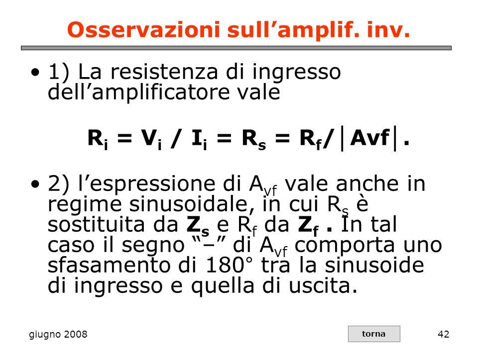 Osservazioni sull'amplif. inv.