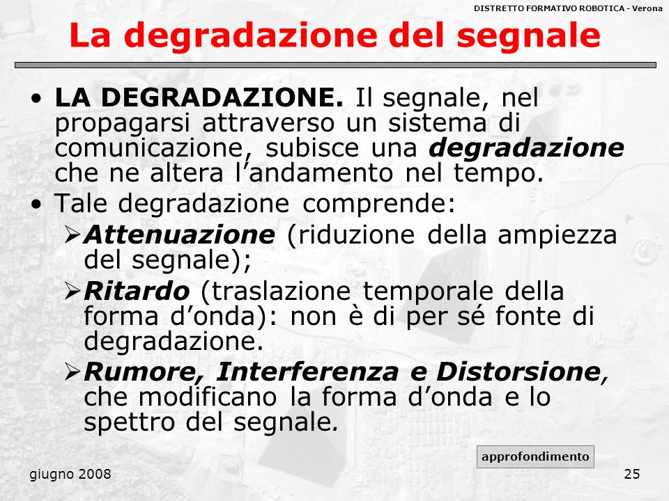 La degradazione del segnale