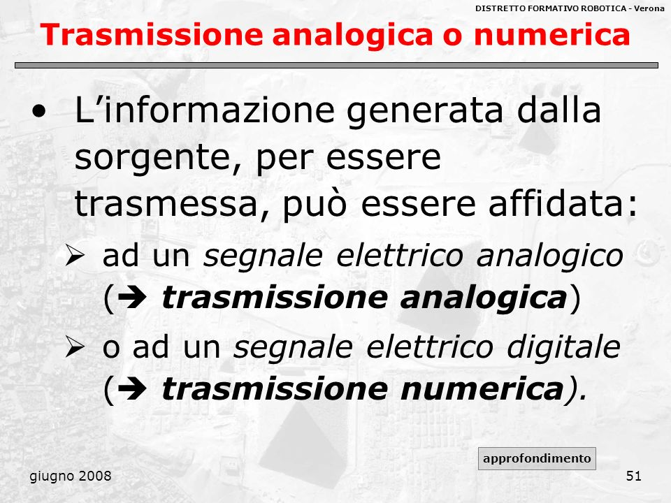 Trasmissione analogica o numerica