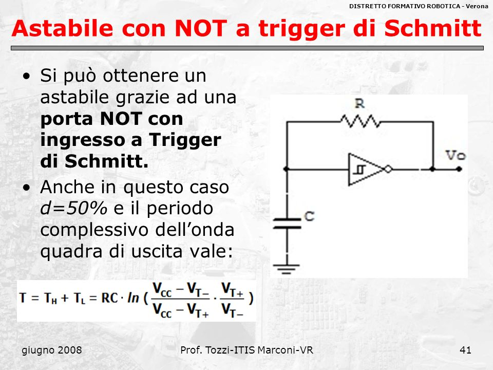 Astabile con NOT a trigger di Schmitt