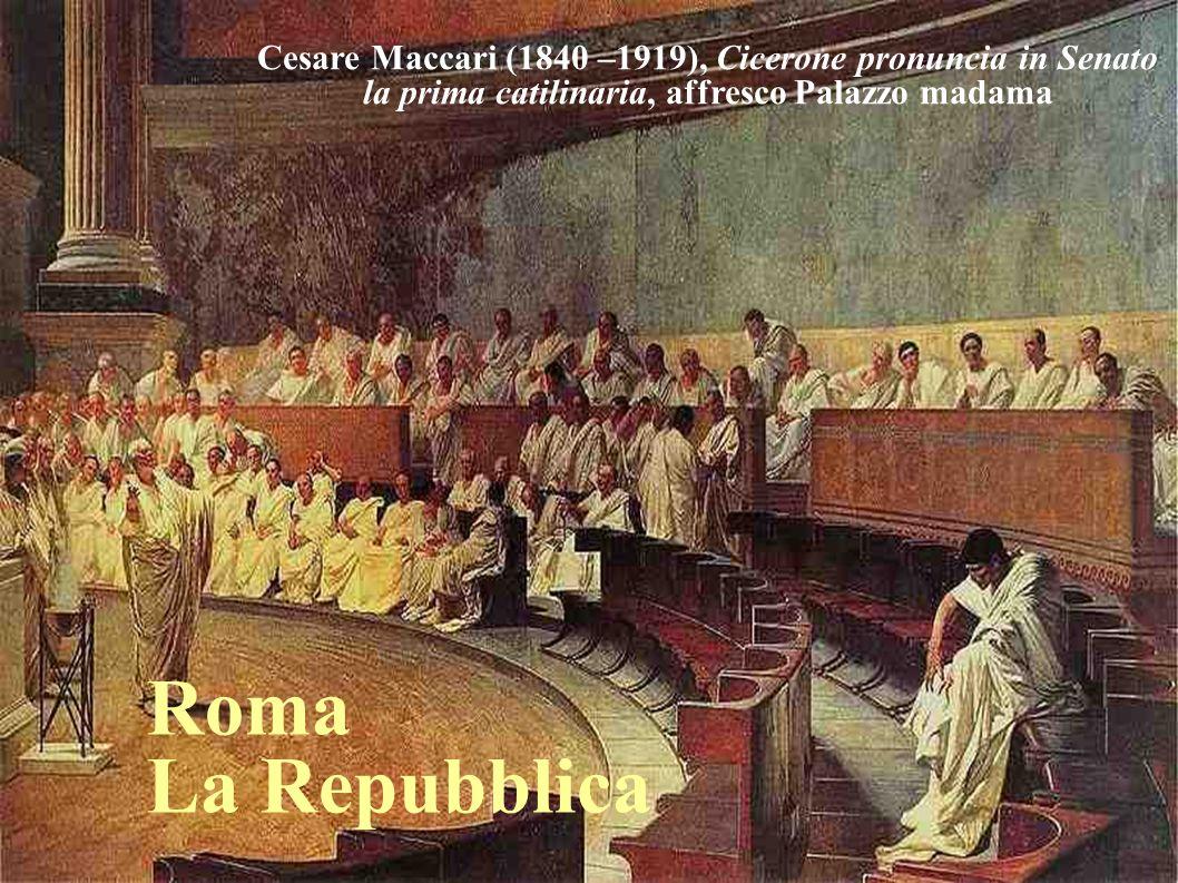 11 Cesare Maccari (1840 –1919), Cicerone pronuncia in Senato la prima catilinaria, affresco Palazzo madama.