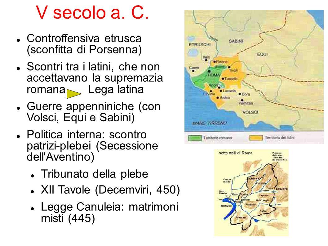 V secolo a. C. Controffensiva etrusca (sconfitta di Porsenna)