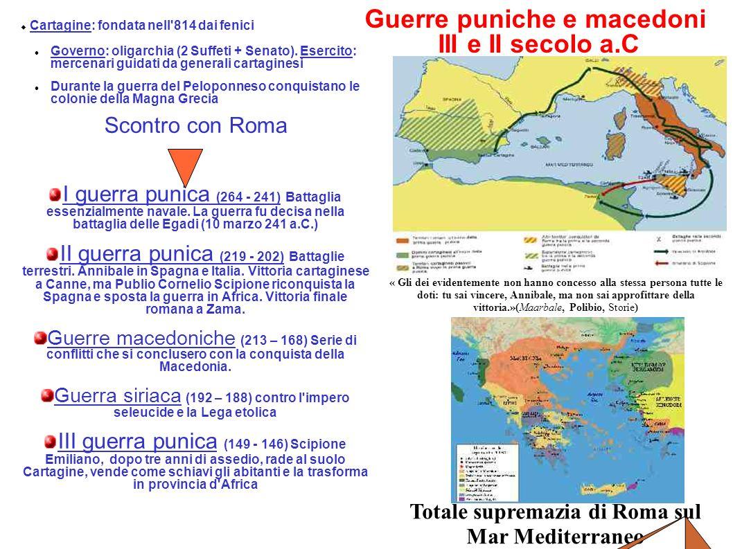 Guerre puniche e macedoni III e II secolo a.C