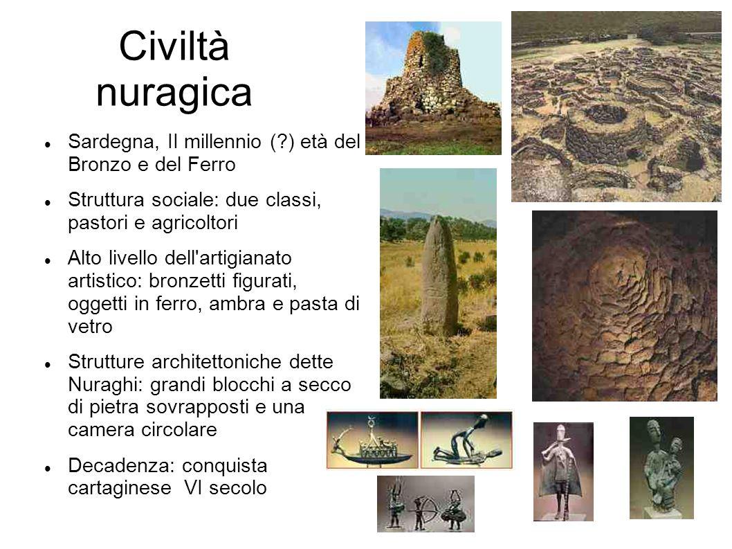 Civiltà nuragica Sardegna, II millennio ( ) età del Bronzo e del Ferro