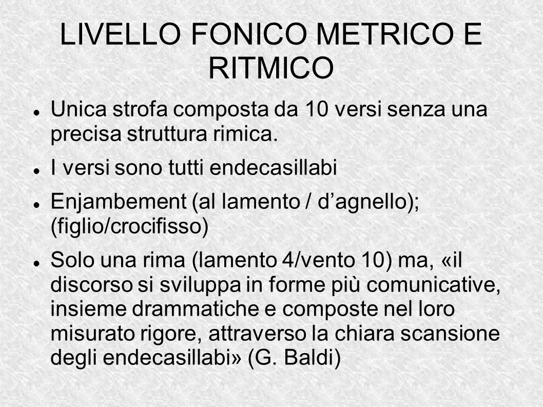 LIVELLO FONICO METRICO E RITMICO