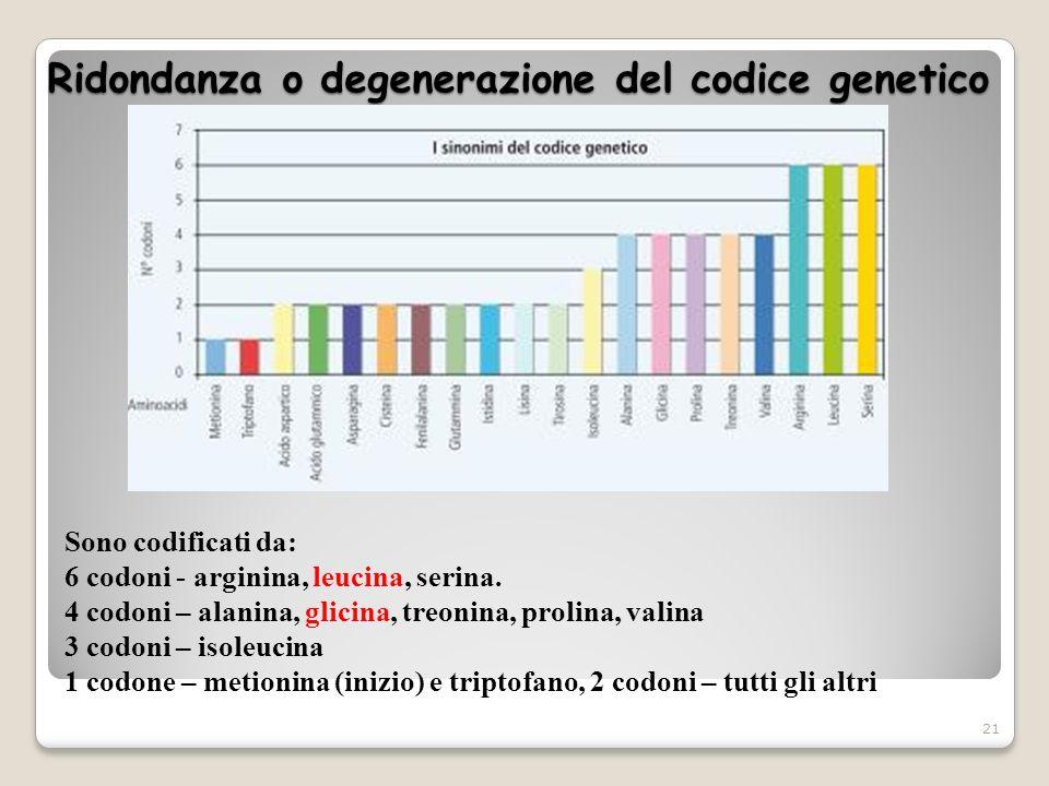 Ridondanza o degenerazione del codice genetico