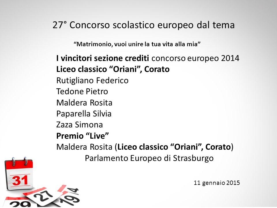 27° Concorso scolastico europeo dal tema