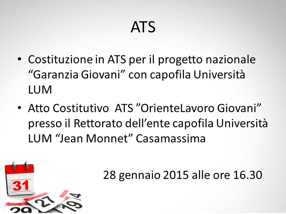ATS Costituzione in ATS per il progetto nazionale Garanzia Giovani con capofila Università LUM.