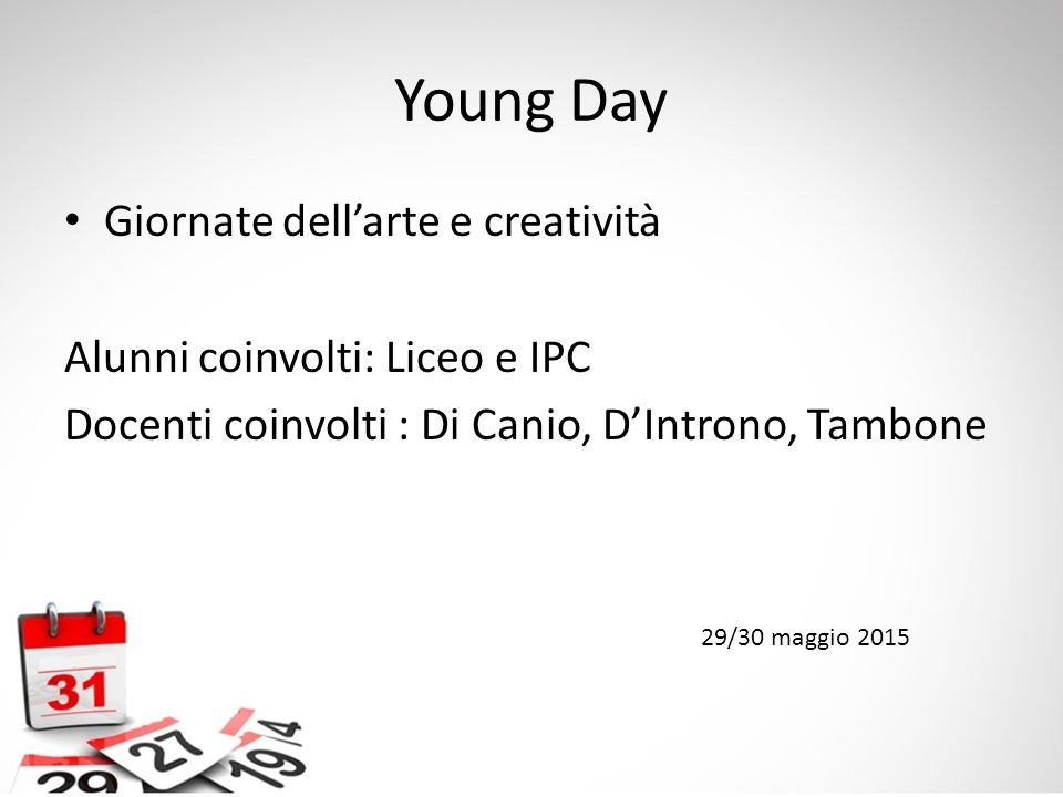 Young Day Giornate dell'arte e creatività
