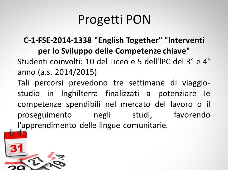 Progetti PON C-1-FSE-2014-1338 English Together lnterventi per lo Sviluppo delle Competenze chiave