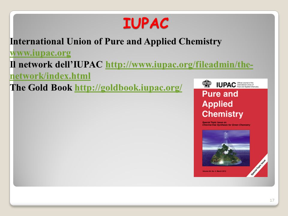 IUPAC International Union of Pure and Applied Chemistry www.iupac.org