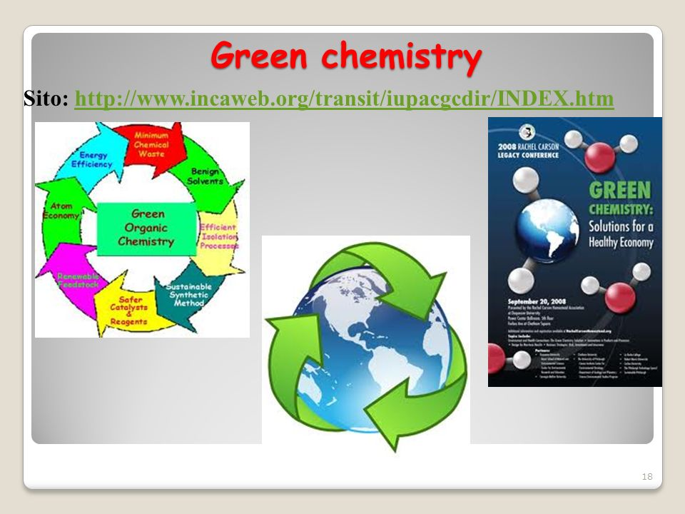 Green chemistry Sito: http://www.incaweb.org/transit/iupacgcdir/INDEX.htm