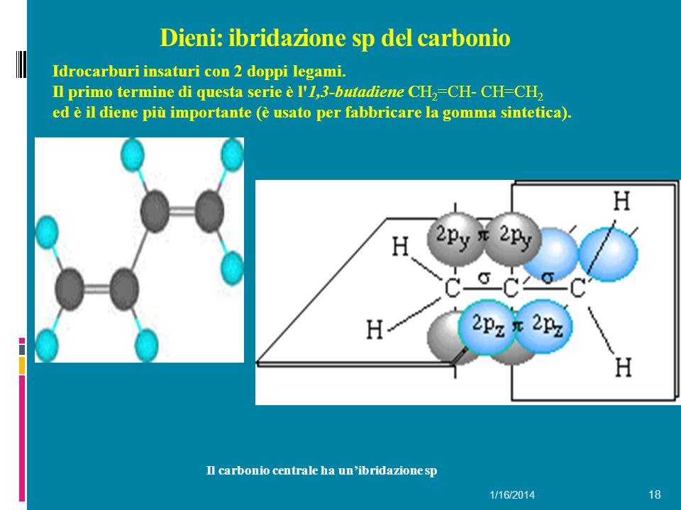 Dieni: ibridazione sp del carbonio