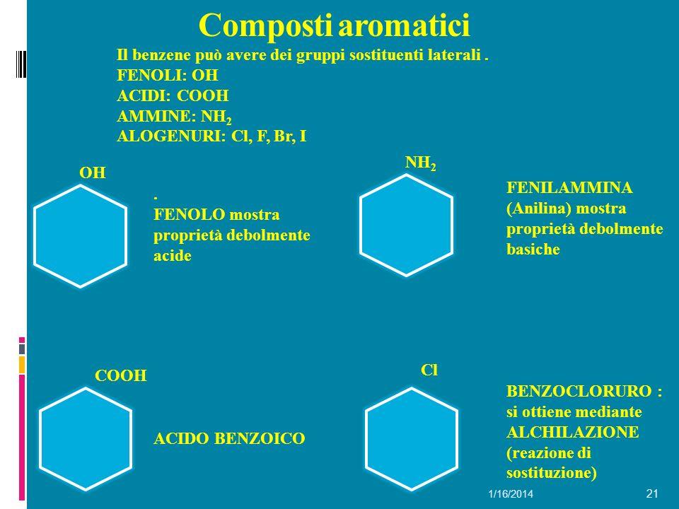 Composti aromatici Il benzene può avere dei gruppi sostituenti laterali . FENOLI: OH. ACIDI: COOH.