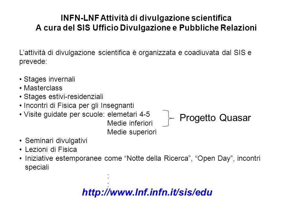 Progetto Quasar http://www.lnf.infn.it/sis/edu