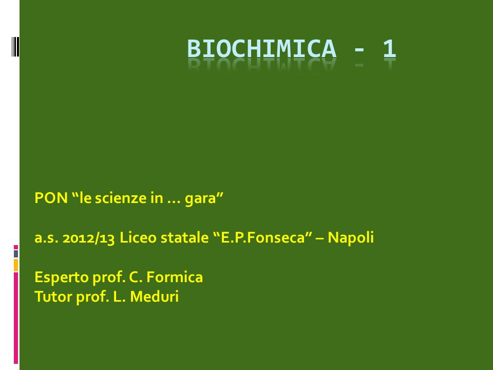 bioChimica - 1 PON le scienze in … gara