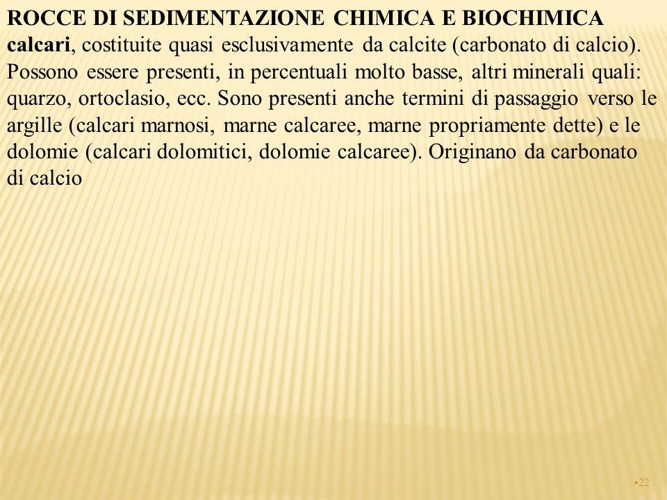 ROCCE DI SEDIMENTAZIONE CHIMICA E BIOCHIMICA calcari, costituite quasi esclusivamente da calcite (carbonato di calcio).