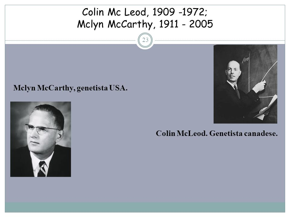 Colin Mc Leod, 1909 -1972; Mclyn McCarthy, 1911 - 2005