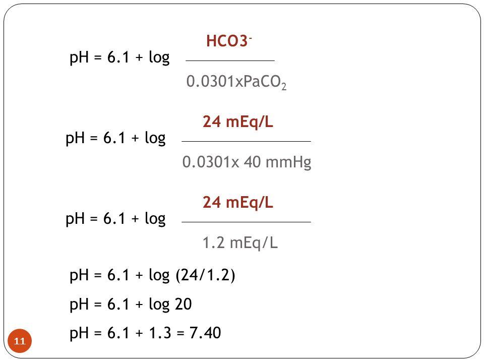 HCO3- pH = 6.1 + log. 0.0301xPaCO2. 24 mEq/L. pH = 6.1 + log. 0.0301x 40 mmHg. 24 mEq/L. pH = 6.1 + log.