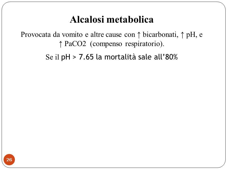 Se il pH > 7.65 la mortalità sale all'80%