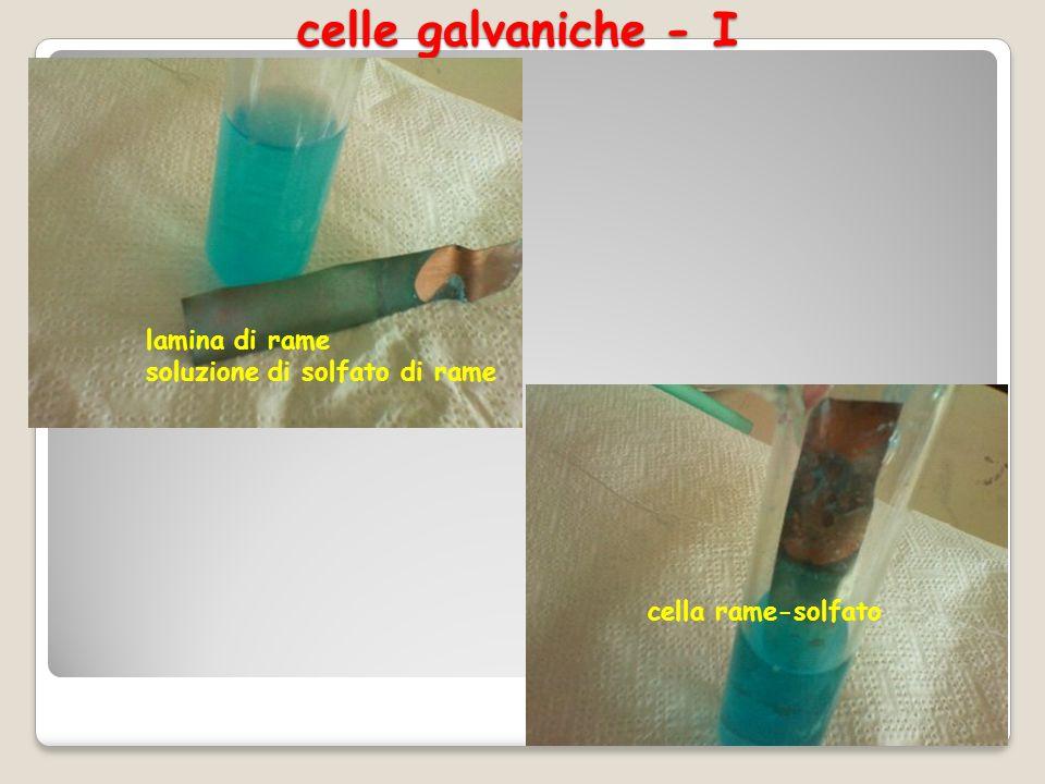 celle galvaniche - I lamina di rame soluzione di solfato di rame