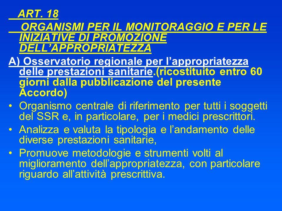 ART. 18 ORGANISMI PER IL MONITORAGGIO E PER LE INIZIATIVE DI PROMOZIONE DELL'APPROPRIATEZZA.