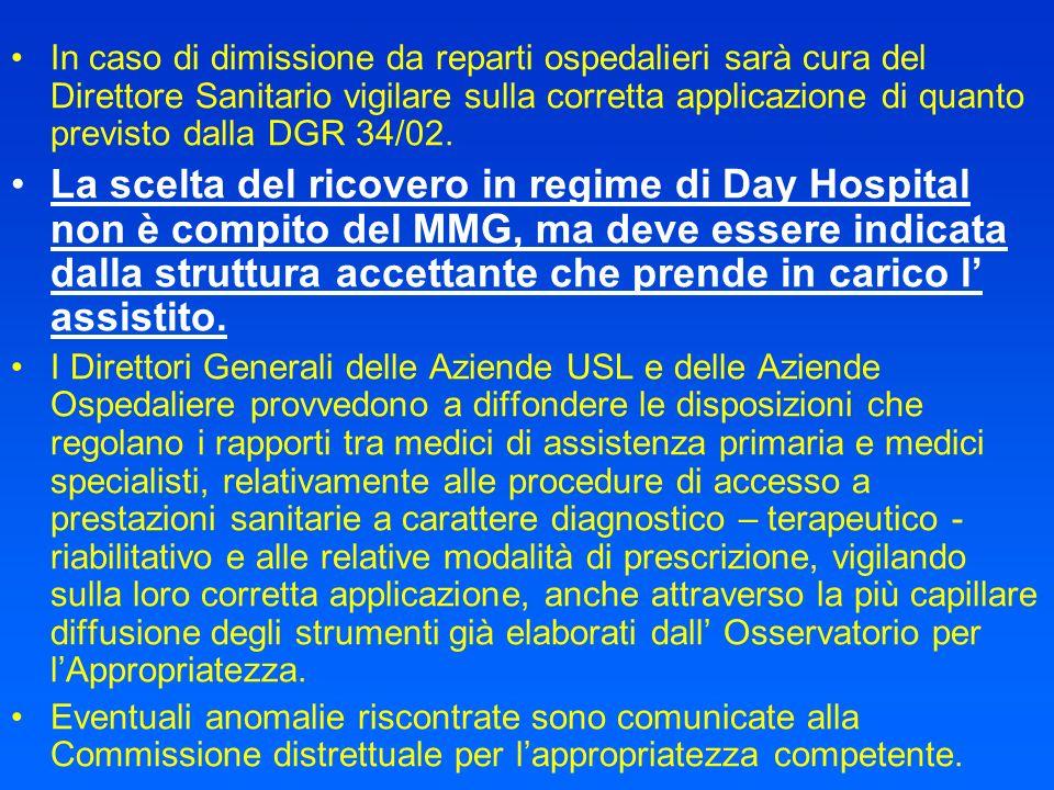 In caso di dimissione da reparti ospedalieri sarà cura del Direttore Sanitario vigilare sulla corretta applicazione di quanto previsto dalla DGR 34/02.