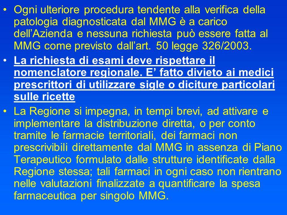 Ogni ulteriore procedura tendente alla verifica della patologia diagnosticata dal MMG è a carico dell'Azienda e nessuna richiesta può essere fatta al MMG come previsto dall'art. 50 legge 326/2003.