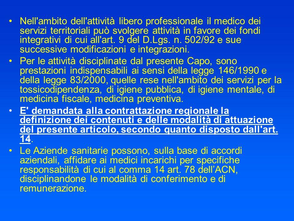 Nell ambito dell attività libero professionale il medico dei servizi territoriali può svolgere attività in favore dei fondi integrativi di cui all art. 9 del D.Lgs. n. 502/92 e sue successive modificazioni e integrazioni.