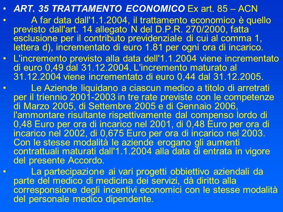 ART. 35 TRATTAMENTO ECONOMICO Ex art. 85 – ACN