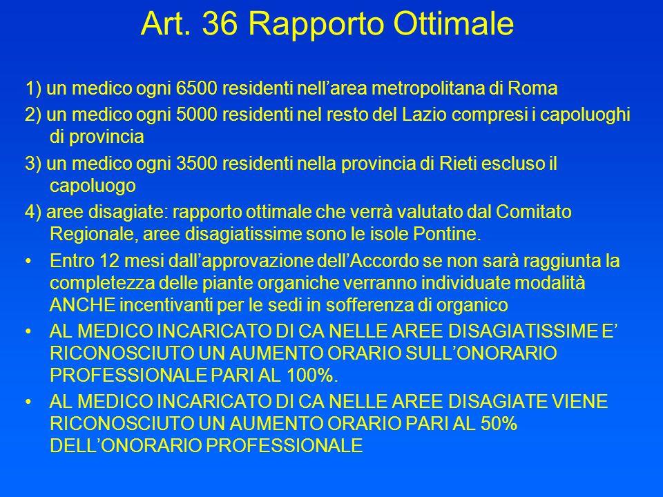 Art. 36 Rapporto Ottimale 1) un medico ogni 6500 residenti nell'area metropolitana di Roma.
