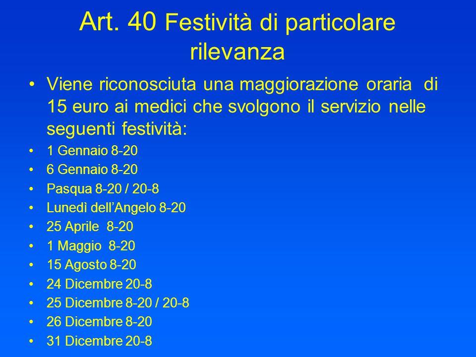 Art. 40 Festività di particolare rilevanza