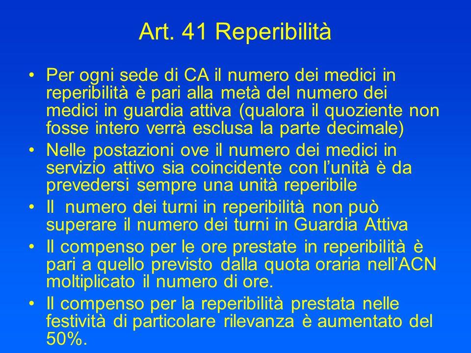 Art. 41 Reperibilità